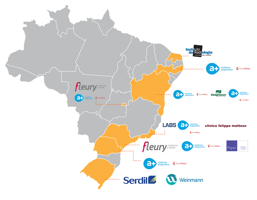 Mapa de atuação do Grupo Fleury